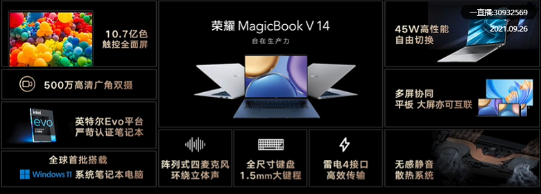 14.2-inch screen with a resolution of 2520 x 1680 pixels, 90 Hz, Tiger Lake-H35 Refresh processors, Nvidia GeForce MX450 GPU and NFC.  Honor MagicBook V14 2021 Laptops Presented