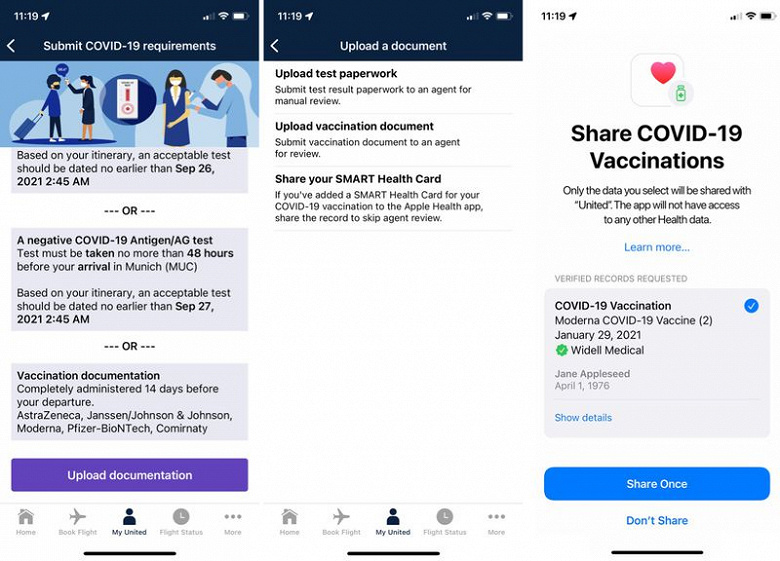 United Airlines Now Offers Integration With Apple Health To Verify COVID-19 Vaccination Certificate