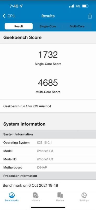 Apple A15 Bionic is able to compete with Snapdragon 888 even with the disconnection of some of the cores