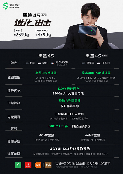 Snapdragon 888 Plus, 144Hz, 4500mAh, 120W, SSD and 16GB RAM.  Presented gaming flagships Black Shark 4S and Black Shark 4S Pro