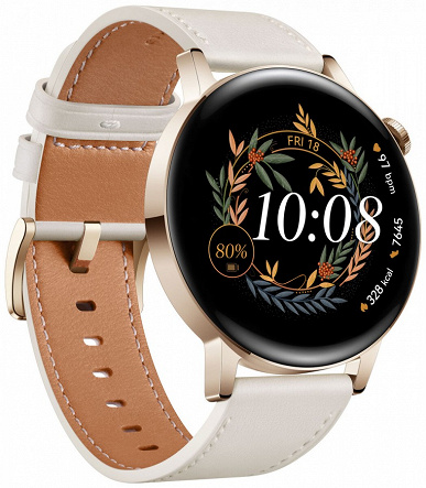 Round AMOLED screen, over 100 training modes, heart rate and SpO2 sensors, GPS, waterproof and up to 14 days of battery life.  Presented smartwatch Huawei Watch GT3