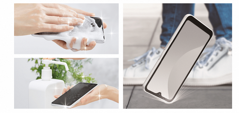 A compact smartphone that can be washed with soap.  Introduced by FCNT Arrows We