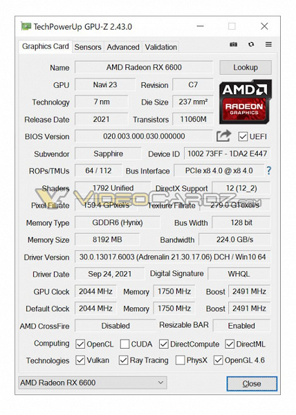 Radeon RX 6600 is still inferior to GeForce RTX 3060 both in memory capacity and in its frequency