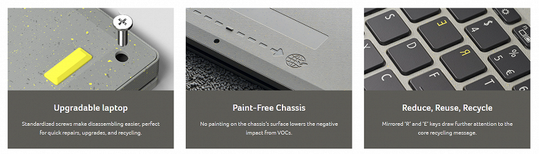 Recycled plastic laptop without painting.  Acer Aspire Vero goes on sale